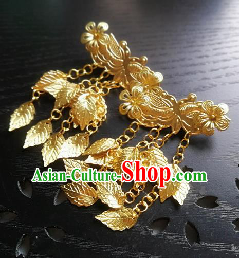 Traditional Chinese Classical Golden Leaf Tassel Hair Claw Hairpins Ancient Princess Hanfu Hair Accessories for Women