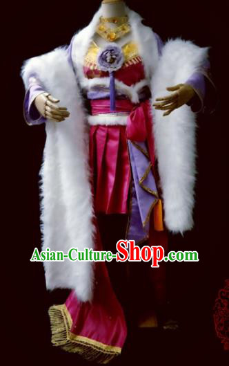 Chinese Cosplay Heroine Female Swordsman Rosy Dress Ancient Princess Peri Costume for Women