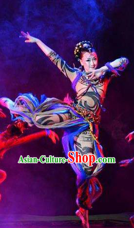 Chinese Tamrac Heaven Classical Dance Dress Stage Performance Costume and Headpiece for Women