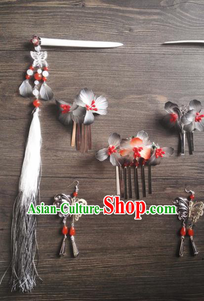Traditional Chinese Classical Grey Flowers Hair Comb Tassel Hairpins Ancient Princess Hanfu Hair Accessories for Women