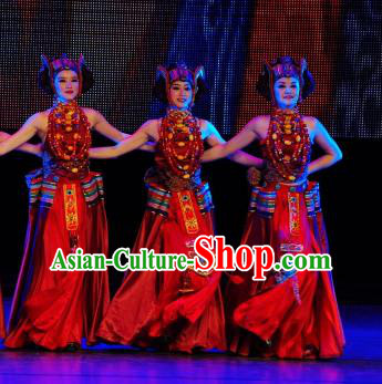 Chinese Tamrac Heaven Zang Nationality Folk Dance Red Dress Stage Performance Costume and Headpiece for Women