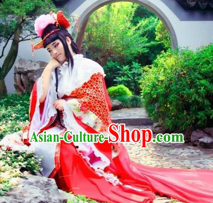 Chinese Cosplay Goddess Queen Wedding Red Dress Ancient Female Swordsman Knight Costume for Women