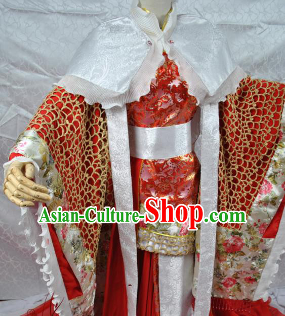 Chinese Cosplay Goddess Queen Red Dress Ancient Female Swordsman Knight Wedding Costume for Women