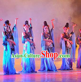 Chinese Tamrac Heaven Classical Dance Blue Dress Stage Performance Costume and Headpiece for Women
