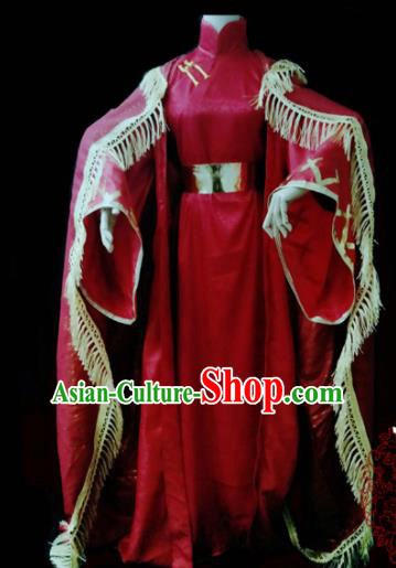 Chinese Cosplay Heroine Female Swordsman Red Dress Ancient Princess Peri Costume for Women