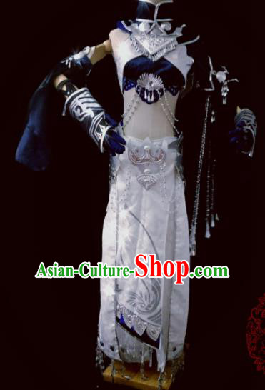 Chinese Cosplay Heroine Female Swordsman White Dress Ancient Knight Princess Peri Costume for Women