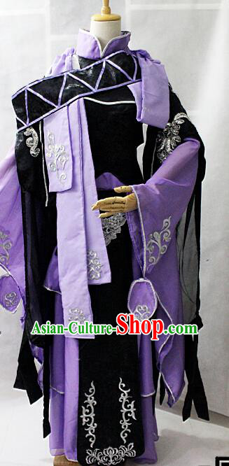 Chinese Cosplay Goddess Fairy Purple Dress Ancient Female Swordsman Knight Costume for Women