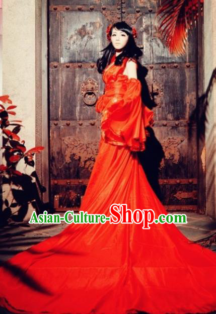Chinese Cosplay Goddess Fairy Princess Red Dress Ancient Female Swordsman Knight Costume for Women