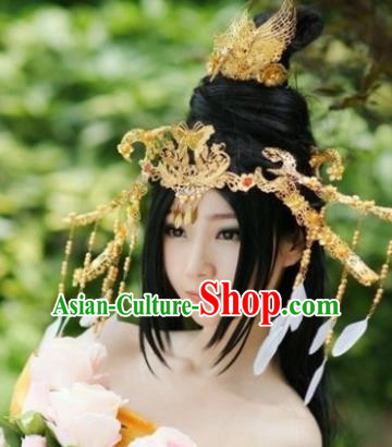 Traditional Chinese Tang Dynasty Golden Hair Comb Hairpins Ancient Princess Hanfu Hair Accessories for Women