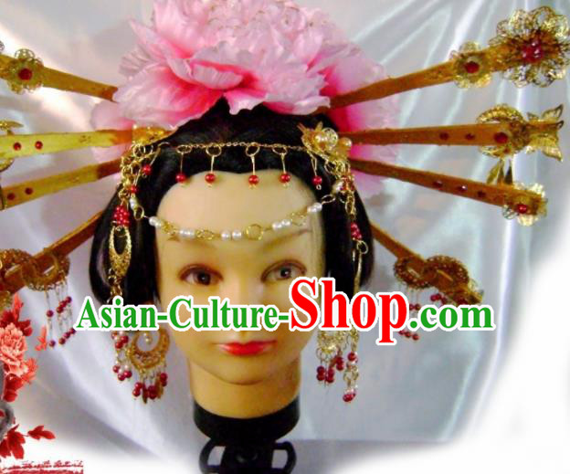 Traditional Chinese Tang Dynasty Queen Golden Hair Comb Hairpins Ancient Princess Hanfu Hair Accessories for Women