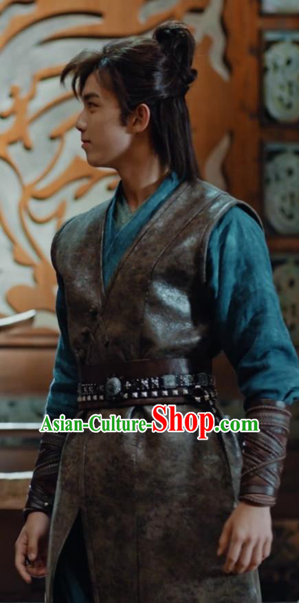 Chinese Drama Fights Break Sphere Ancient Young Knight Swordsman Leather Hanfu Costumes for Men