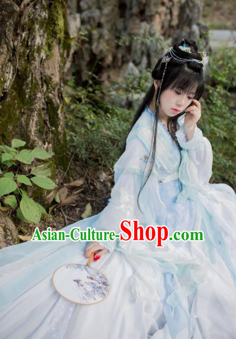 Chinese Cosplay Goddess Princess Light Blue Dress Ancient Female Swordsman Knight Costume for Women