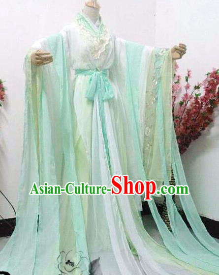 Chinese Cosplay Princess Light Green Dress Ancient Female Swordsman Knight Costume for Women