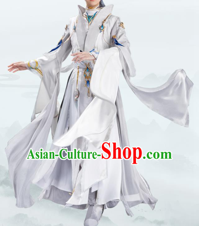 Traditional Chinese Cosplay Taoist Priest Grey Clothing Ancient Swordsman Costume for Men