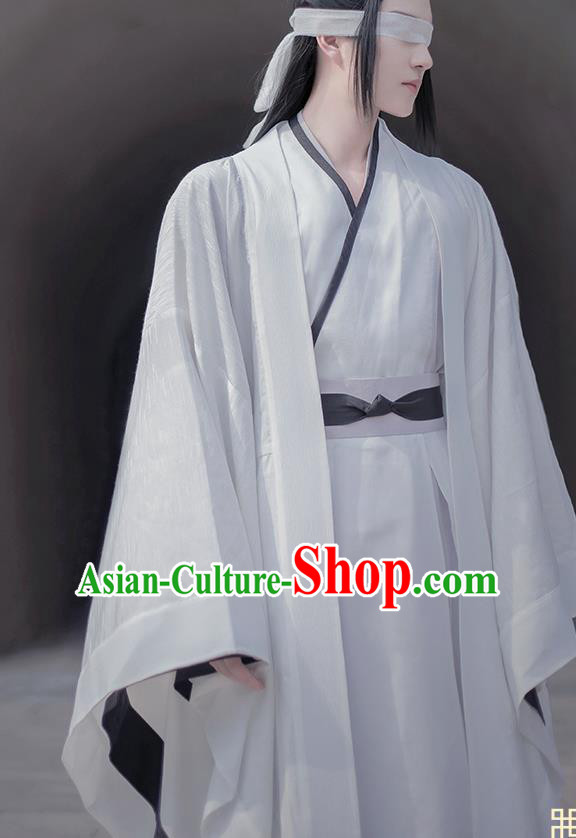 Traditional Chinese Cosplay The Untamed Nobility Childe White Clothing Ancient Swordsman Costume for Men