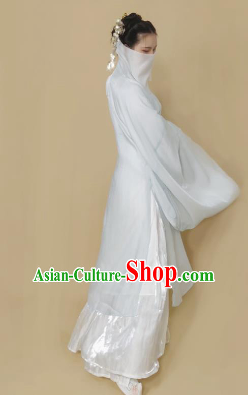 Chinese Ming Dynasty Light Green Chiffon Cloak Ancient Female Swordsman Knight Costume for Women