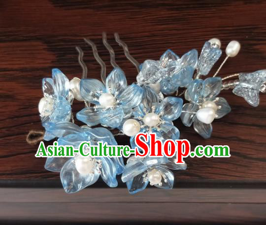 Traditional Chinese Hanfu Palace Blue Flowers Hair Comb Hairpins Ancient Princess Hair Accessories for Women