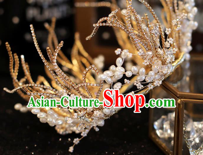 Top Grade Bride Royal Crown Handmade Wedding Hair Accessories for Women