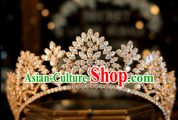 Top Grade Bride Champagne Royal Crown Handmade Wedding Hair Accessories for Women