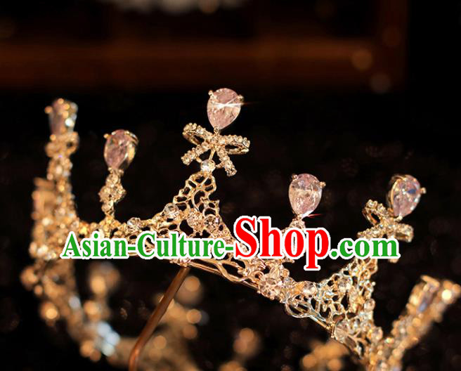 Top Grade Bride Zircon Bowknot Royal Crown Handmade Wedding Hair Accessories for Women