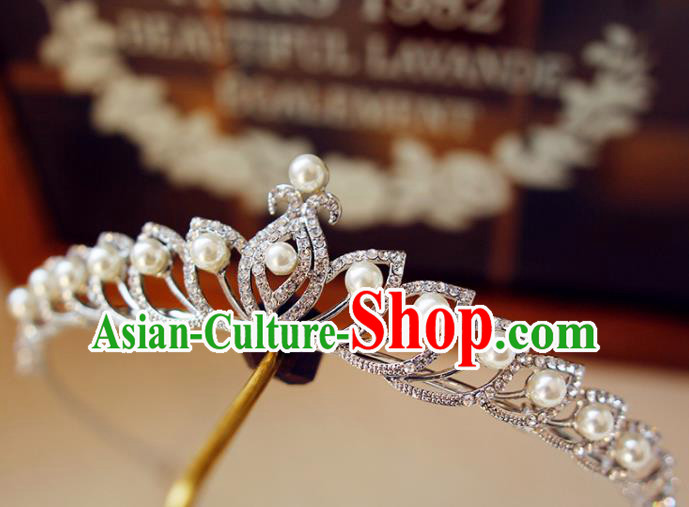 Top Grade Bride Zircon Beads Royal Crown Handmade Wedding Hair Accessories for Women