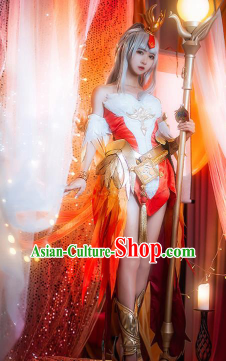 Traditional Chinese Cosplay Swordswoman Red Dress Ancient Heroine Costume for Women