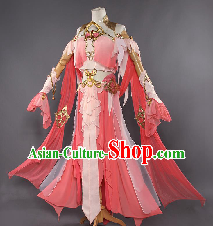 Traditional Chinese Cosplay Swordswoman Watermelon Red Dress Ancient Fairy Princess Heroine Costume for Women