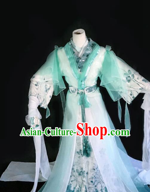 Traditional Chinese Cosplay Swordswoman Light Green Dress Ancient Royal Princess Costume for Women