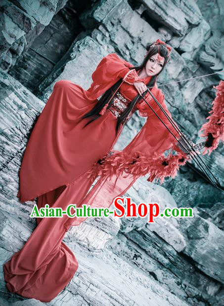 Traditional Chinese Cosplay Swordswoman Aranya Red Dress Ancient Royal Princess Costume for Women
