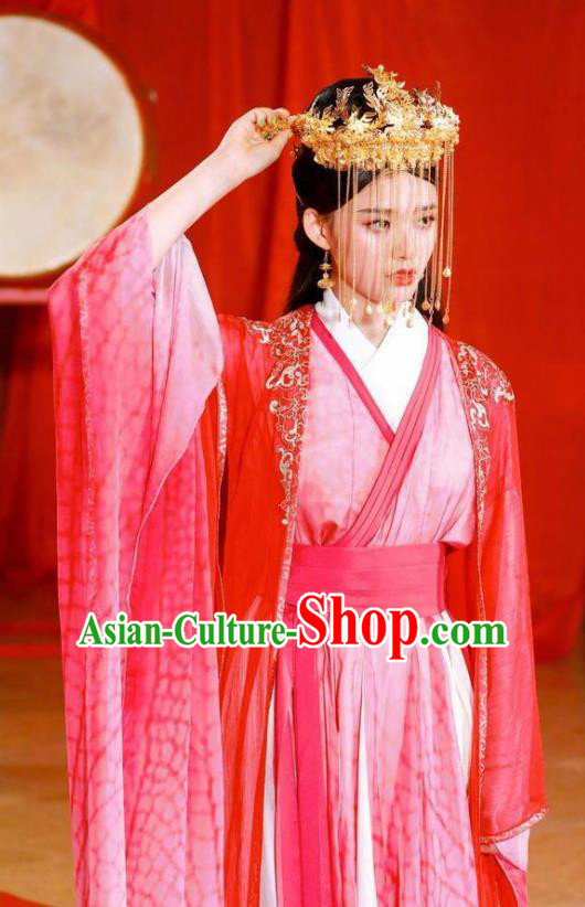 Ancient Chinese Princess Wedding Red Hanfu Dress Drama Fights Break Sphere Xiao Xuner Costumes and Headpiece for Women