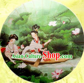 Chinese Handmade Printing Xi Shi Lotus Oil Paper Umbrella Traditional Decoration Umbrellas