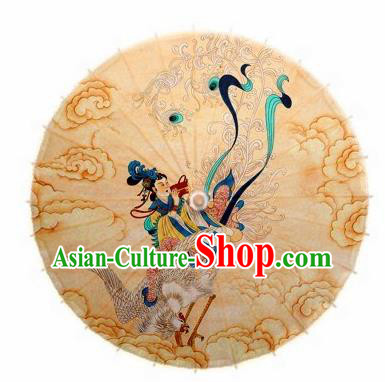 Chinese Handmade Printing Crane Goddess Queen Oil Paper Umbrella Traditional Decoration Umbrellas