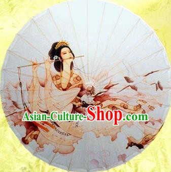 Chinese Handmade Printing Ancient Beauty Crane Oil Paper Umbrella Traditional Decoration Umbrellas