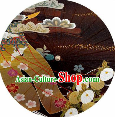 Japanese Handmade Printing Daisy Brown Oil Paper Umbrella Traditional Decoration Umbrellas