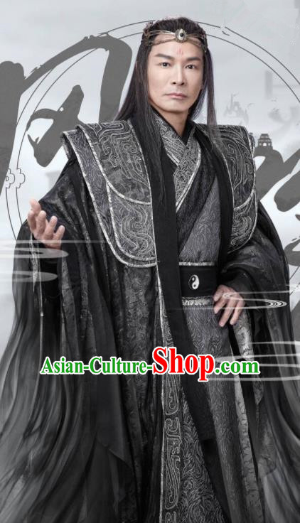 Ancient Chinese Swordsman Leader Feng Yin Black Hanfu Clothing Drama Kawaler Costumes for Men