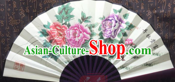 Chinese Handmade Painting Peony Silk Fans Traditional Decoration Folding Fan