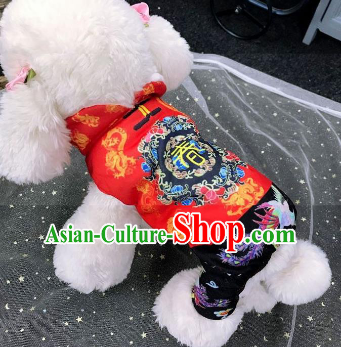 Traditional Asian Chinese Pets Winter Clothing Dog Red Costumes for New Year Spring Festival