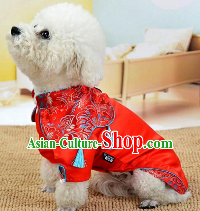 Traditional Asian Chinese Pets Winter Clothing Dog Red Satin Costumes for New Year Spring Festival