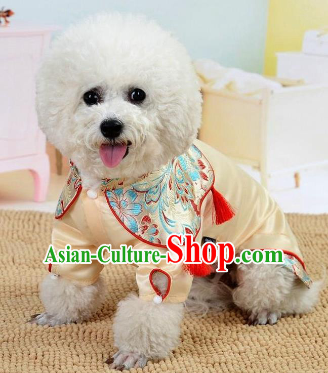Traditional Asian Chinese Pets Winter Clothing Dog Beige Satin Costumes for New Year Spring Festival