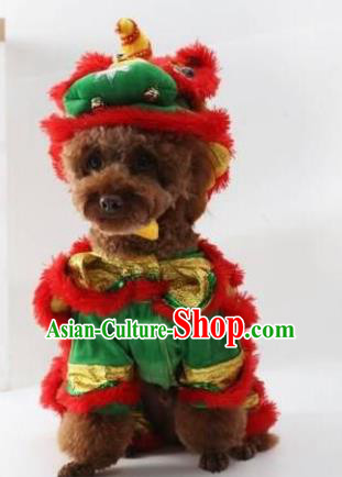 Traditional Asian Chinese Pets Winter Clothing Dog Lion Dance Costumes for New Year Spring Festival