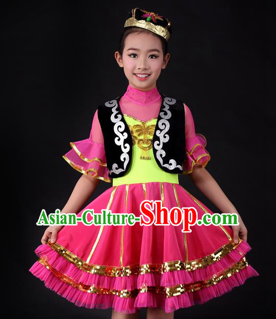 Traditional Chinese Child Xinjiang Uyghur Nationality Rosy Dress Ethnic Minority Folk Dance Costume for Kids