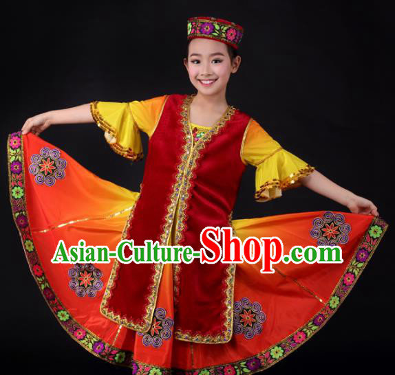 Traditional Chinese Child Xinjiang Uyghur Nationality Red Dress Ethnic Minority Folk Dance Costume for Kids