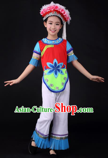 Traditional Chinese Child Bai Nationality Clothing Ethnic Minority Folk Dance Costume for Kids