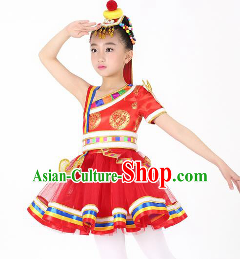 Traditional Chinese Child Zang Nationality Red Short Dress Ethnic Minority Folk Dance Costume for Kids