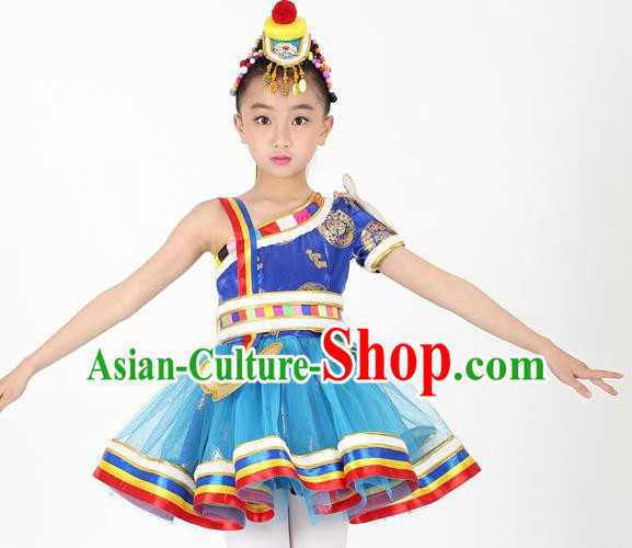 Traditional Chinese Child Zang Nationality Blue Short Dress Ethnic Minority Folk Dance Costume for Kids