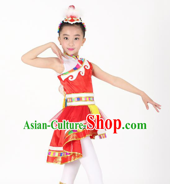 Traditional Chinese Child Zang Nationality Red Veil Short Dress Ethnic Minority Folk Dance Costume for Kids