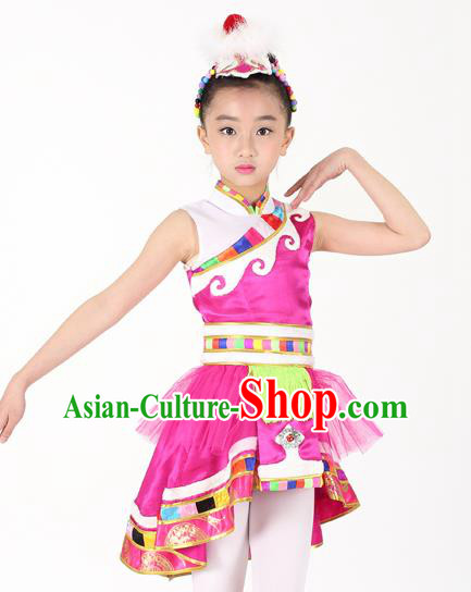Traditional Chinese Child Zang Nationality Rosy Veil Short Dress Ethnic Minority Folk Dance Costume for Kids