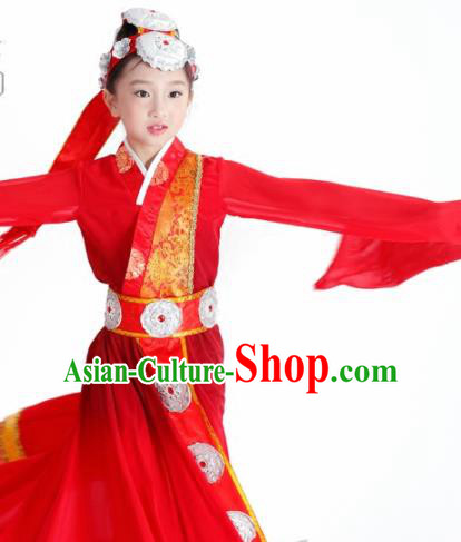 Traditional Chinese Child Zang Nationality Red Water Sleeve Dress Ethnic Minority Folk Dance Costume for Kids
