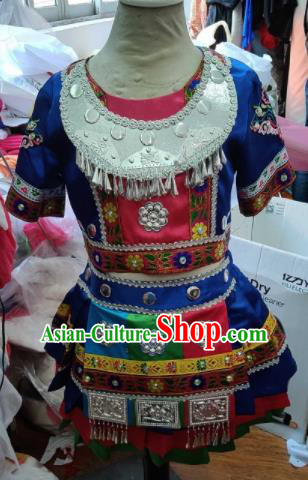 Traditional Chinese Child Miao Nationality Royalblue Short Skirt Ethnic Minority Folk Dance Costume for Kids