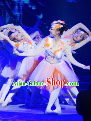 Traditional Chinese Children Classical Dance Crested Ibises Dress Stage Show Costume for Kids